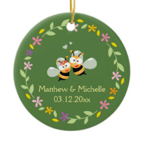 Cute Whimsical Floral Wreath Mr & Mrs Meant To Bee Ceramic Ornament