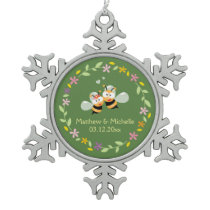 Cute Whimsical Floral Wreath Mr & Mrs Meant To Bee Snowflake Pewter Christmas Ornament