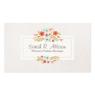 Cute Whimsical Flowers Fashion Boutique Linen Look Double-Sided Standard Business Cards (Pack Of 100)