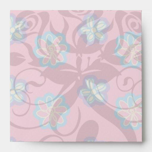 cute whimsical flowers on pink envelope