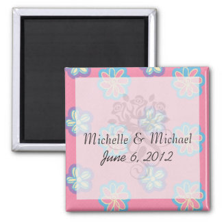 cute whimsical flowers on pink magnets