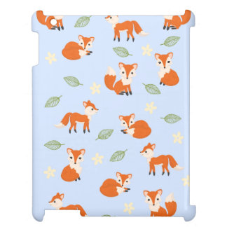 Cute Whimsical Fox Leaf and Flower Pattern iPad Cases