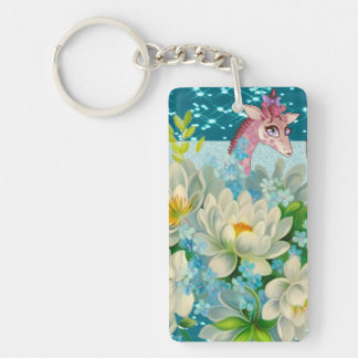 Cute Whimsical Giraffe -Blooming Flowers Keychain