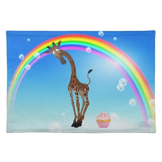 Cute Whimsical Giraffe, Cupcake & Rainbow Placemat