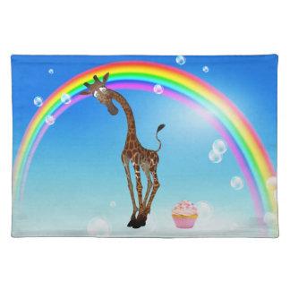Cute Whimsical Giraffe, Cupcake & Rainbow Placemat Cloth Placemat
