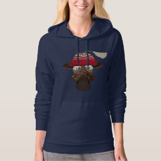 Cute Whimsical Giraffe in Winter Hat Hoodie