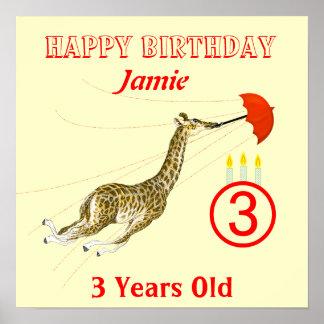 Cute Whimsical Giraffe Umbrella  Birthday Poster