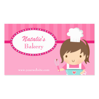 Cute Whimsical Girl Chef Cooking Bakery Cafe Pink Business Card Template
