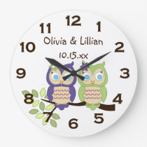 Cute Whimsical Girl Owl Twins Wall Clock