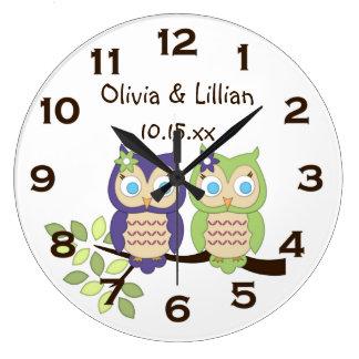 Cute Whimsical Girl Owl Twins Wall Clock