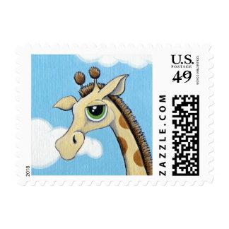 Cute Whimsical Green Eyed Giraffe - Small Stamp