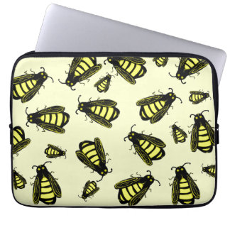 Cute Whimsical Hand Drawn Bees Pattern Laptop Sleeve