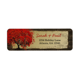 Cute Whimsical Heart Leafed Red Tree Label