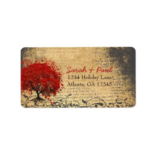 Cute Whimsical Heart Leafed Tree Red Pink Dots Personalized Address Labels