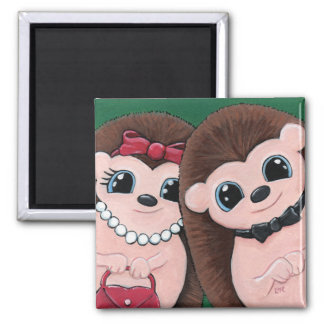 Cute Whimsical Hedgehog Couple Illustration 2 Inch Square Magnet