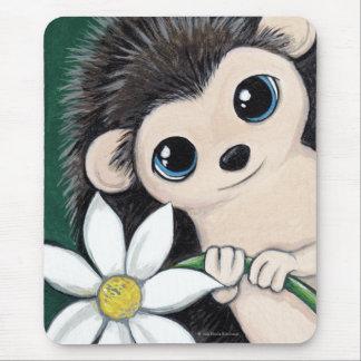 Cute Whimsical Hedgehog Holding a Flower Mousepad