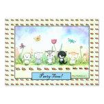 Cute Whimsical Kitty Puppy Ladybug Invitation