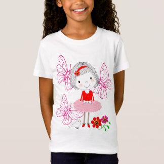 Cute Whimsical Little Girl Butterflies And Flowers T-Shirt