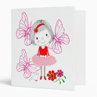 Cute Whimsical Little Girl Butterfly Flowers Binder