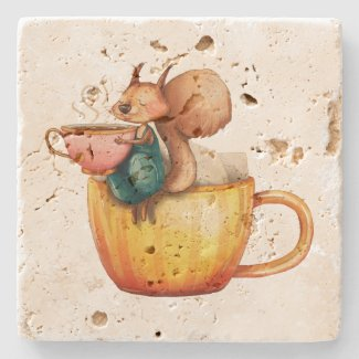 Cute Whimsical Little Squirrel on a Teacup Stone Coaster