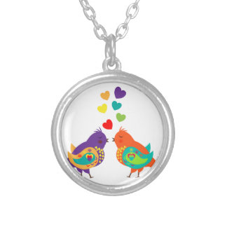 Cute Whimsical Love Birds and Hearts Picture Jewelry