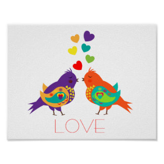 Cute Whimsical Love Birds and Hearts Picture Posters
