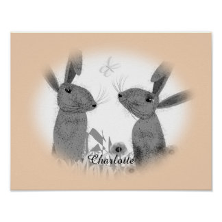Cute Whimsical March Hares Personalized Poster