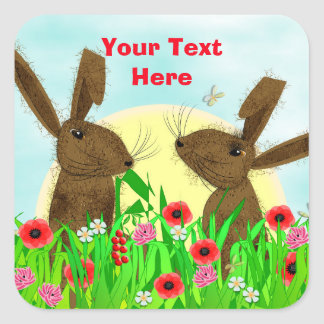 Cute Whimsical March Hares Square Sticker