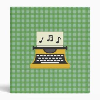 Cute Whimsical Music Note Typewriter 3 Ring Binder