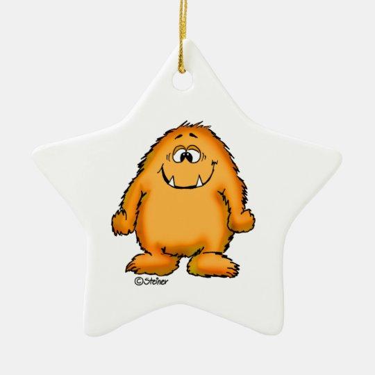 Cute whimsical orange Monster by Send2smiles Ceramic Ornament