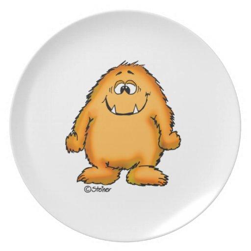 Cute whimsical orange Monster by Send2smiles Dinner Plate