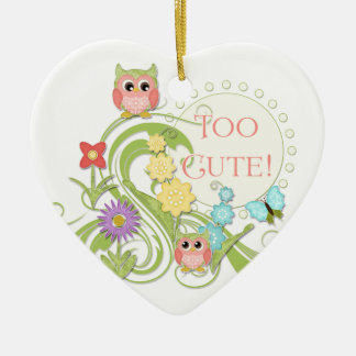 Cute Whimsical Owl n Butterfly Scroll Floral Art Ceramic Ornament