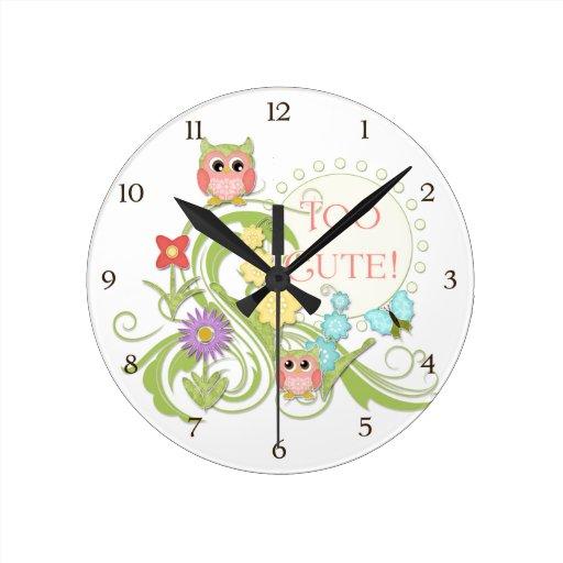 Cute Whimsical Owl n Butterfly Scroll Floral Art Wallclock