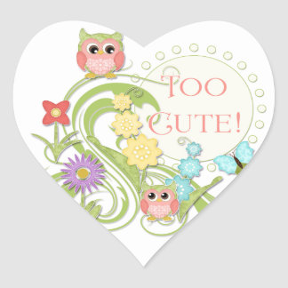 Cute Whimsical Owl n Butterfly Scroll Floral Art Heart Sticker