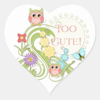 Cute Whimsical Owl n Butterfly Scroll Floral Art Heart Sticker