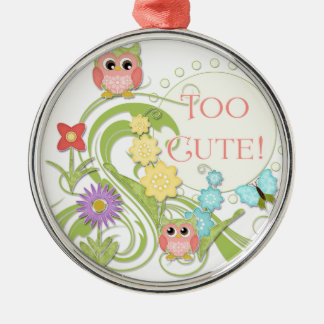 Cute Whimsical Owl n Butterfly Scroll Floral Art Metal Ornament