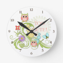 Cute Whimsical Owl n Butterfly Scroll Floral Art Round Clock