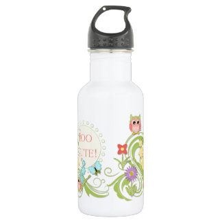 Cute Whimsical Owl n Butterfly Scroll Floral Art Stainless Steel Water Bottle