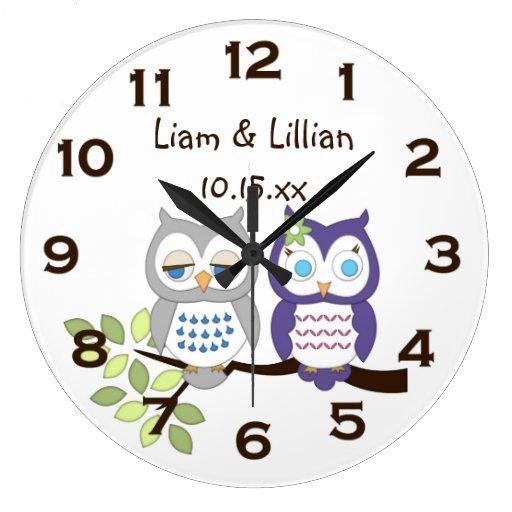 Cute Whimsical Owl Twins Wall Clock