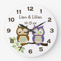 Cute Whimsical Owl Twins Wall Clock