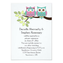 Cute Whimsical Owls After Wedding Celebration Card