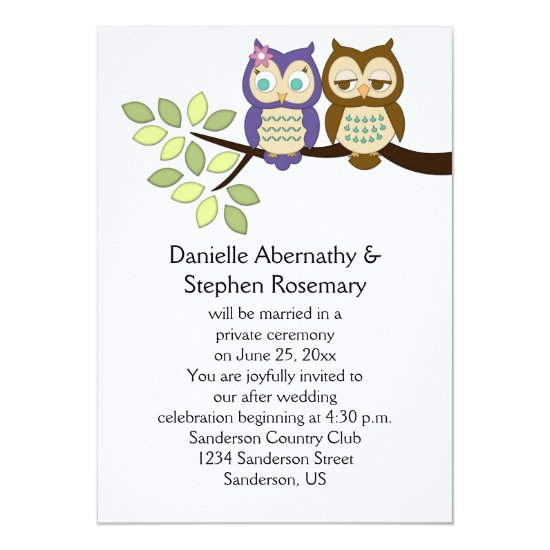 Cute Whimsical Owls After Wedding Celebration Invitation