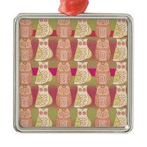 Cute Whimsical Owls Pattern Tan Pink Stripes Metal Ornament