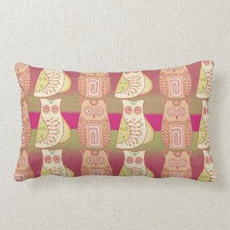 Cute Whimsical Owls Pattern Tan Pink Stripes Throw Pillows