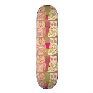 Cute Whimsical Owls Pattern Tan Pink Stripes Skate Board Deck