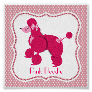 Cute Whimsical Pink Poodle on Polka Dot Picture Poster