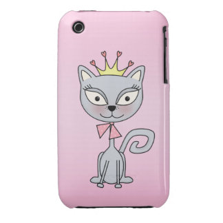 Cute Whimsical Princess Kitty Cat Case-Mate iPhone 3 Case