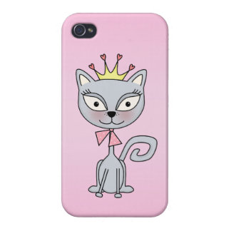 Cute Whimsical Princess Kitty Cat iPhone 4/4S Cover