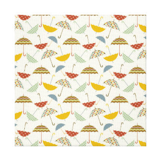 Cute Whimsical Rainy Day Umbrella Pattern Canvas Print