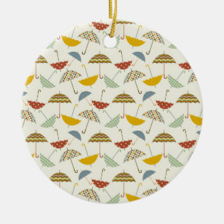 Cute Whimsical Rainy Day Umbrella Pattern Ceramic Ornament